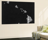 Hawaii Black and White Map Wall Mural by  NaxArt