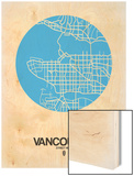 Vancouver Street Map Blue Wood Print by  NaxArt