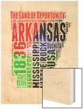 Arkansas Watercolor Word Cloud Wood Print by  NaxArt