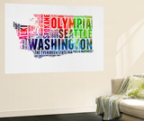 Washington Watercolor Word Cloud Wall Mural by  NaxArt