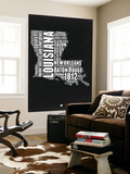 Louisiana Black and White Map Wall Mural by  NaxArt