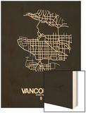 Vancouver Street Map Black Wood Print by  NaxArt