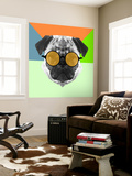 Party Pug in Yellow Glasses Wall Mural by Lisa Kroll