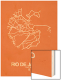 Rio de Janeiro Street Map Orange Wood Print by  NaxArt