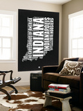 Indiana Black and White Map Wall Mural by  NaxArt