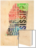 Mississippi Watercolor Word Cloud Wood Print by  NaxArt