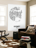 Sydney Street Map White Wall Mural by  NaxArt