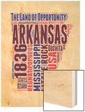 Arkansas Word Cloud Map Wood Print by  NaxArt