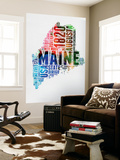 Maine Watercolor Word Cloud Wall Mural by  NaxArt