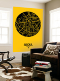 Seoul Street Map Yellow Wall Mural by  NaxArt