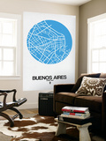 Buenos Aires Street Map Blue Wall Mural by  NaxArt