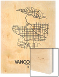 Vancouver Street Map White Wood Print by  NaxArt