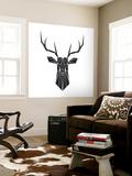 Black Polygon Deer Wall Mural by Lisa Kroll