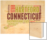 Connecticut Word Cloud Map Wood Print by  NaxArt