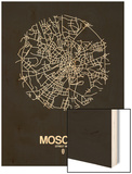 Moscow Street Map Black Wood Print by  NaxArt