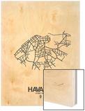 Havana Street Map White Wood Print by  NaxArt