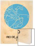 Rio de Janeiro Street Map Blue Wood Print by  NaxArt