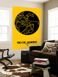 Rio de Janeiro Street Map Yellow Wall Mural by  NaxArt