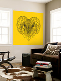 Ram Head Yellow Mesh Wall Mural by Lisa Kroll