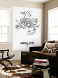 Auckland Street Map White Wall Mural by  NaxArt
