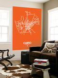 Cairo Street Map Orange Wall Mural by  NaxArt