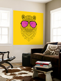 Tiger in Pink Glasses Wall Mural by Lisa Kroll