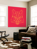 Fox on Red Wall Mural by Lisa Kroll
