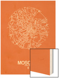 Moscow Street Map Orange Wood Print by  NaxArt