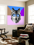 Woolf in Blue Glasses Wall Mural by Lisa Kroll