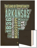 Arkansas Word Cloud 1 Wood Print by  NaxArt