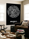 Brussels Street Map Black Wall Mural by  NaxArt