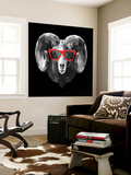 Ram in Red Glasses Wall Mural by Lisa Kroll