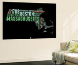 Massachusetts Word Cloud 1 Wall Mural by  NaxArt