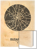 Budapest Street Map Black on White Wood Print by  NaxArt