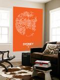 Sydney Street Map Orange Wall Mural by  NaxArt