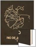 Rio de Janeiro Street Map Black Wood Print by  NaxArt