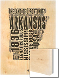 Arkansas Word Cloud 2 Wood Print by  NaxArt