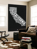 California Black and White Map Wall Mural by  NaxArt