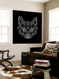 Black Cat Polygon Wall Mural by Lisa Kroll