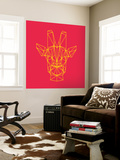 Giraffe on Red Wall Mural by Lisa Kroll