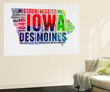 Iowa Watercolor Word Cloud Wall Mural by  NaxArt