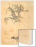 Helsinki Street Map White Wood Print by  NaxArt
