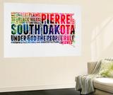 South Dakota Watercolor Word Cloud Wall Mural by  NaxArt