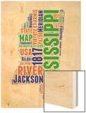 Mississippi Word Cloud Map Wood Print by  NaxArt