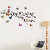 Magnolia and 3D Butterflies - Duvar Çıkartması