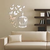 Mirror Butterflies and Birdcage Mirror Wall Art ウォールステッカー