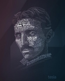 Nikola Tesla Typography Quotes Print by  Lynx Art Collection