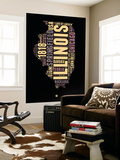 Illinois Word Cloud 1 Wall Mural by  NaxArt