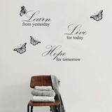 Live Hope Quote Grey Wallstickers