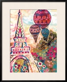 Ballons Sur Paris Framed Giclee Print by Natasha Wescoat